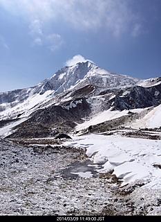 稜線から会津磐梯山ヤマンバ、ギックリ腰で裏磐梯スキー場から川上ルート指標まで、、、by ゲストさん 466x640(160KB)