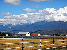 山が沢山連なっています。大雪山系でしょうか?まるで絵葉書みたいな景色です。車から撮影by ゲストさん 640x480(328KB)