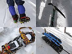 木曽御岳山は4回目です。最初は田野原から強風でも山頂ゲット。2回目は山スキーで転んでばかり滑れず遅くなる。3回目は11月雪が降り車で逃げる。今回4回目で危険な斜面など良いことがありません。もう来ないぞっと思ながらもまた来るんでしょうね。今回は冬山3点セット(スノーシュー、ピッケル、アイゼン)持参でした。by ゲストさん 640x480(91KB)