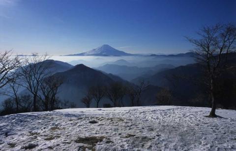 雪の鍋割山にて