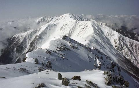 新雪の北岳稜線