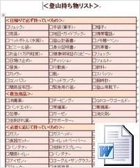 登山持ち物リスト(Word形式)